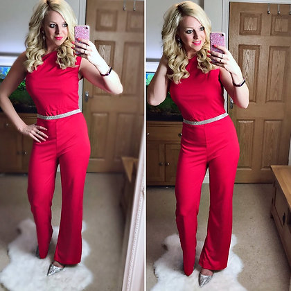Red Tie Waist Jumpsuit