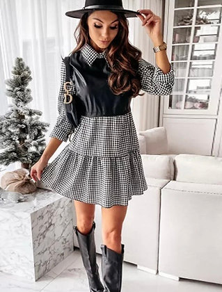 Black Check Dress