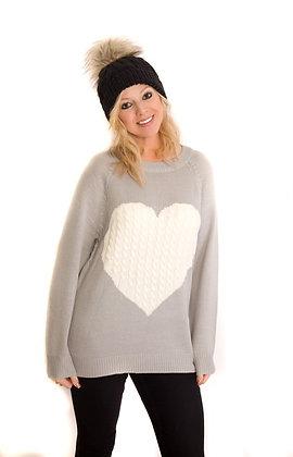 Grey or Black Heart Print Jumper