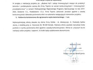 Informacjao wyborze wykonawcy nr2-kotlownia w beton Topmix