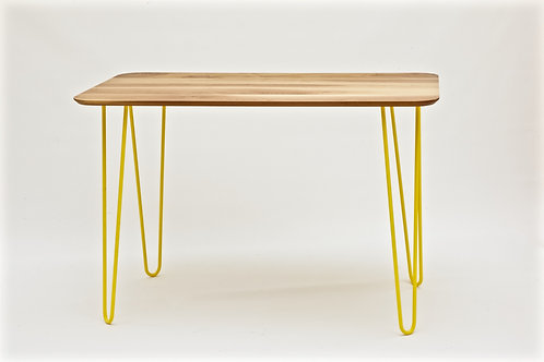 Modern industrial looking table with hairpin legs
