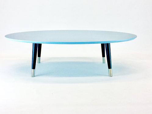 Midcentury oval beveled light blue cofffee table with tapered legs and ferules