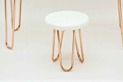 Modern stool with real copper hairpin legs