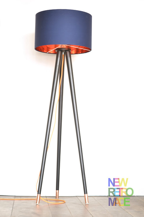 Floor lamp on tripod wooden tapered legs with cooper ferules