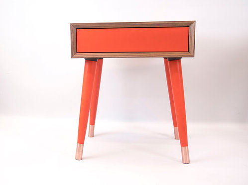 Mid Century Modern Nightstand in solid walnut, push-in drawer in colours,