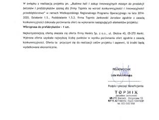 """Informacja beton Topmix o wyborze wykonawcy """"Wibroprasy do prefabrykatów"""""""