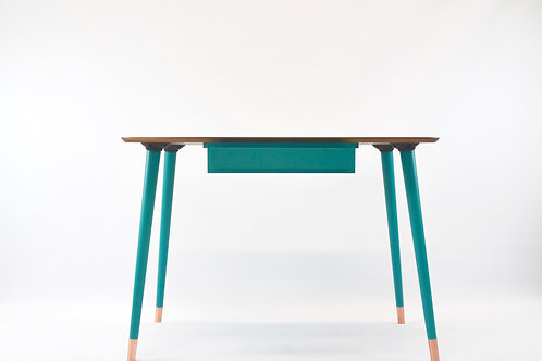 Modern Study Desk with walnut top and 4 tapered wooden legs with metal ferules