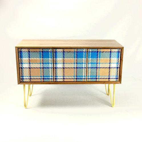 Mid-century  Checked patterns 3 compartments sideboard