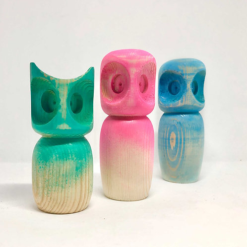 Owl wooden figure for personal gift, cute wooden animal