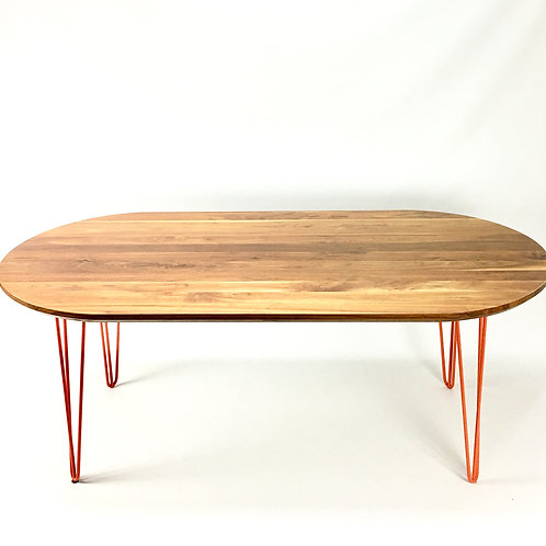 Mid-century oval dinning table with set of 4 hairpin legs