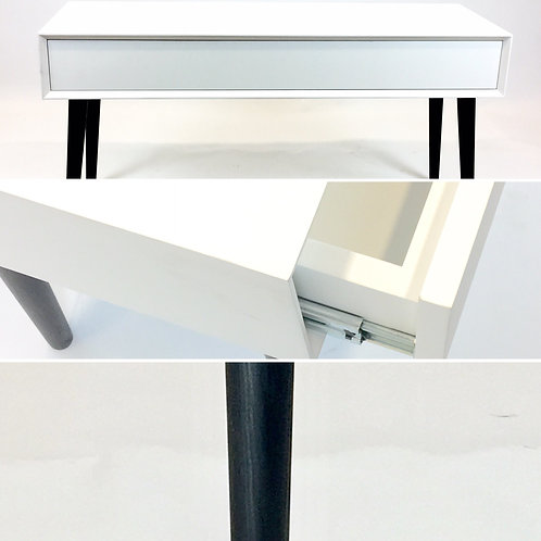 White one drawer beveled sideboard on tapered legs