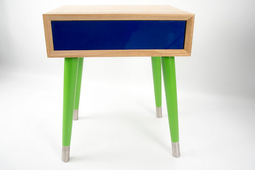 Mid Century Modern Nightstand in solid oak, push-in drawer in colours,