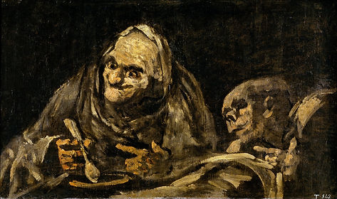 'Two men eating Soup' one of Goya's black paintings depicting two old men eating soup. the man on the right is almost a skelton