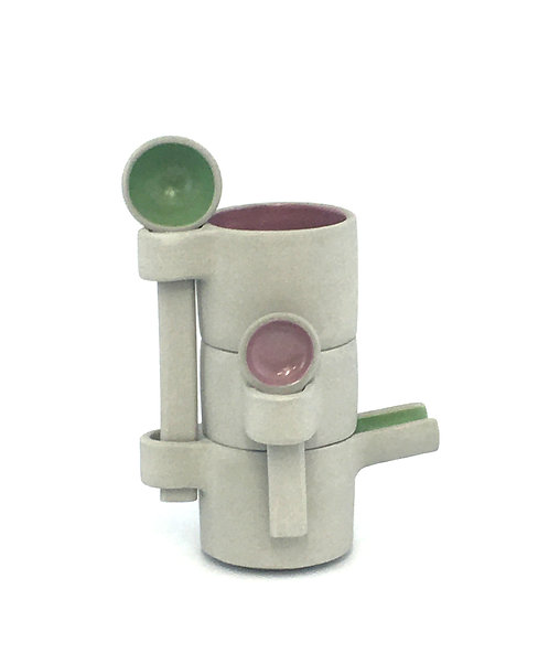 Strasse Espresso Cup Tower in Miami Pink and Apple Green