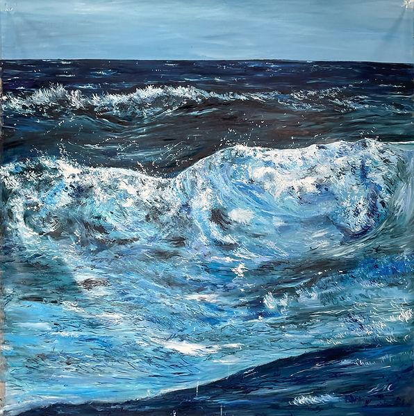Ride the Wave - mer ocean - peinture a l'huile - 168x168cm - 2021 - Fleur Blume