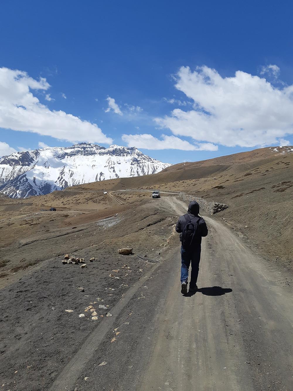 trekking down from Komic