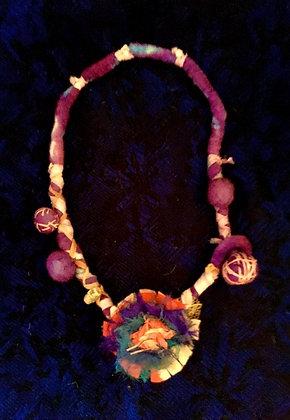 #448 Boho Flower Power Fiber Necklace