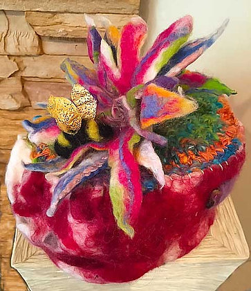 #424 Felted Vessel With Bee And Flower