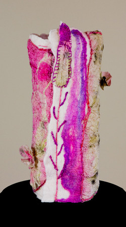 Felted Lamp with Dyed SIlk