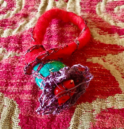 #435 Felted Wrap Bracelet with Coral Bead