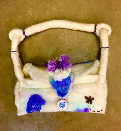 #462 Wet Felted Bag with Flower (Front & Back)