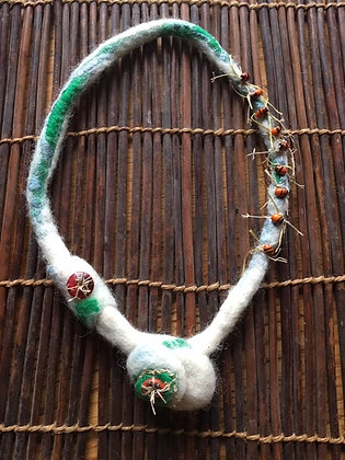 #422 Wet Felted Necklace with Beads