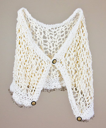 #270 Petite White Shawl With Vintage Buttons
