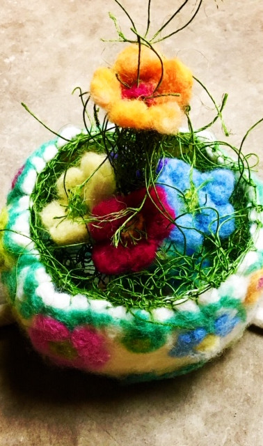 Felted Bowl With Flowers