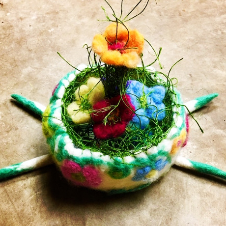 Felted Flower Bowl And Grass