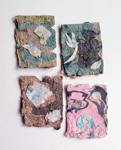Recycled  Handmade Paper & Suminagashi Marbling