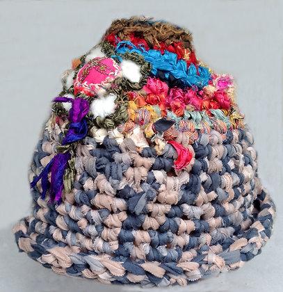Boho Cotton & Sari Silk Crocheted Cap (SOLD)