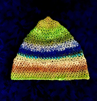 #485 Green Bluffs Crocheted Beanie Noro Yarn