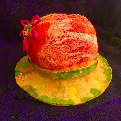 #475 Psychedelic Felted Hat With Flower