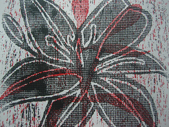 Red, White & Black Lily Print unframed no mount