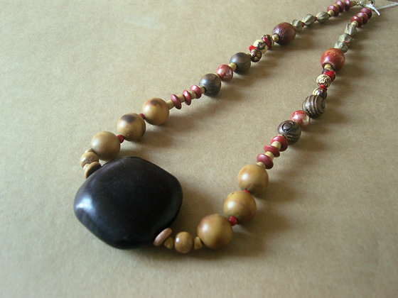 Wooden Beaded Necklace by Julie Tomkins