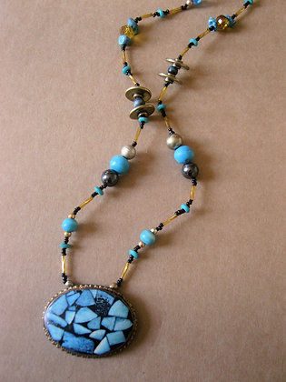 Blue & Gold Pendant Necklace by Julie Tomkins
