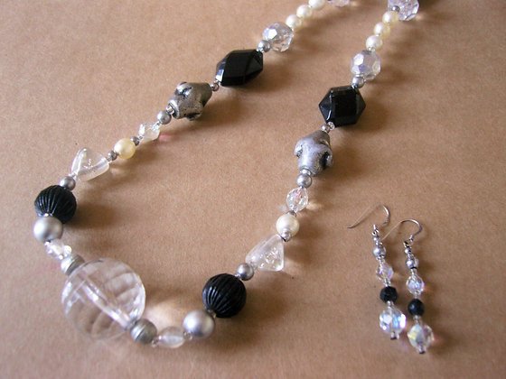 Chunky Black & White Necklace & Earrings by Julie