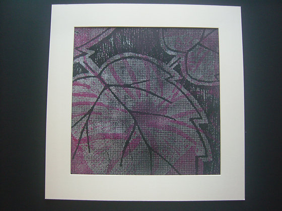Pink, Silver & Black Hibiscus Print mounted