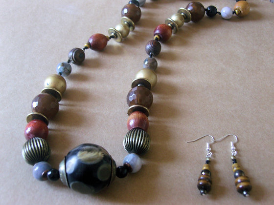 Brown Beaded Necklace & Earrings by Julie Tomkins