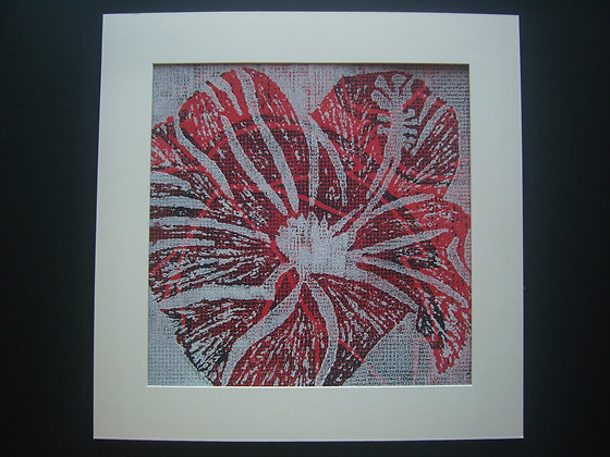 Red, Black & White Hibiscus Print mounted