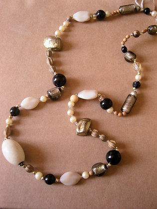 Gold, White & Black Necklace by Julie Tomkins