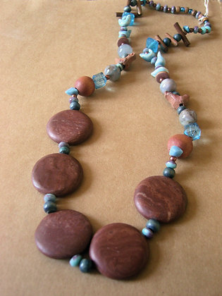 Wooden & Blue Bead Necklace by Julie Tomkins