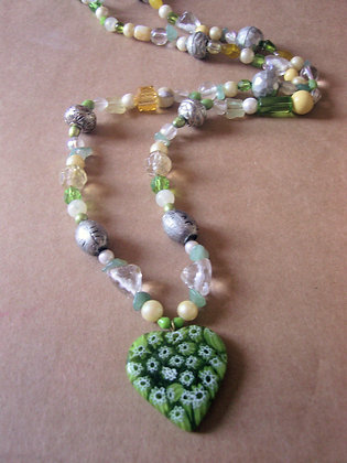 Long Green Pendant Necklace by Julie Tomkins