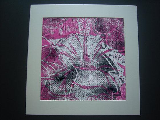 Pink, White & Black Hibiscus Print mounted