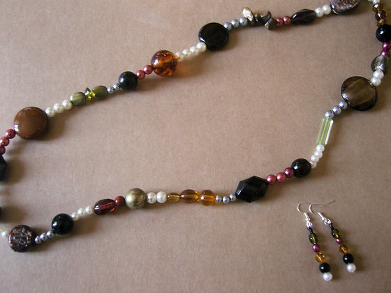 Beaded Necklace & Earrings by Julie Tomkins