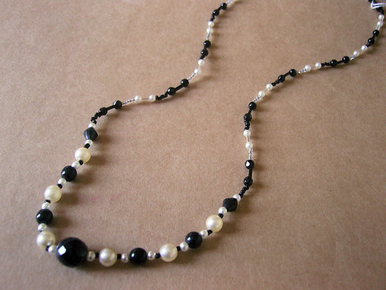 Long Black & White Beaded Necklace by Julie