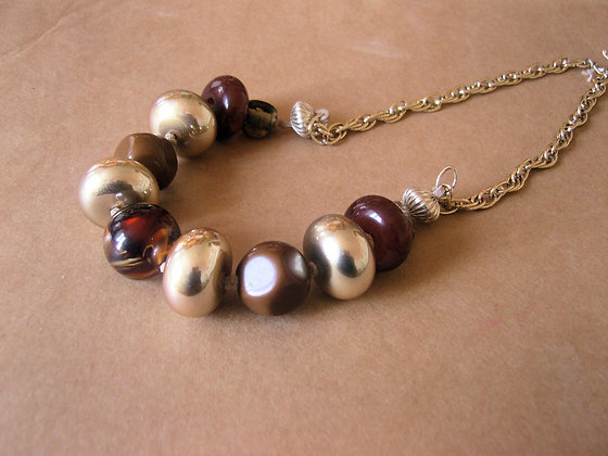 Chunky Brown Beaded Necklace by Julie Tomkins