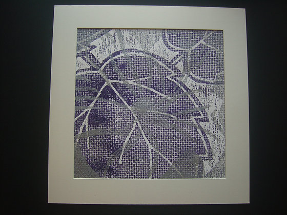 Purple, White & Silver Hibiscus Print mounted