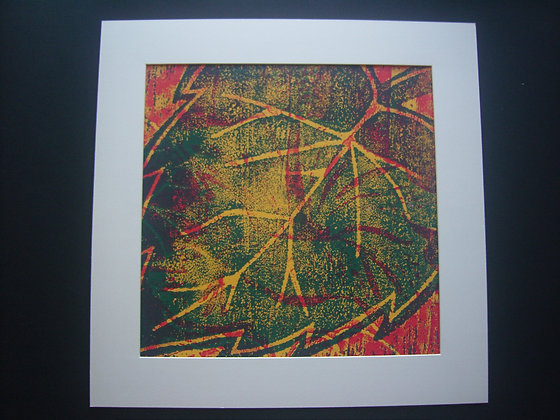 Green, Yellow & Red Hibiscus Print mounted