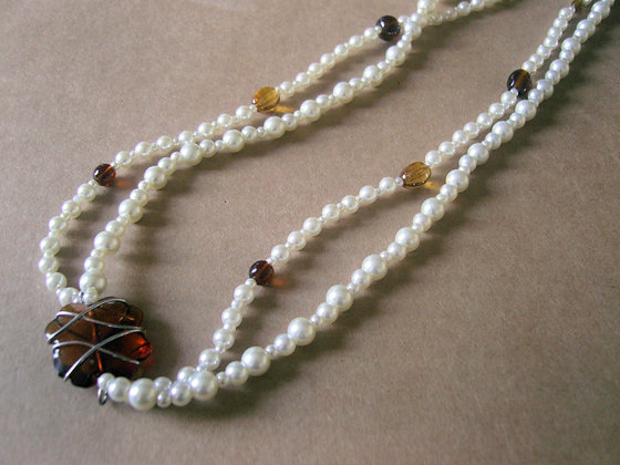 Pearl & Brown Pendant Necklace by Julie Tomkins